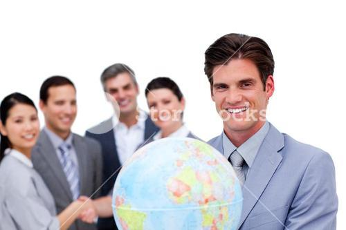 Portrait of a smiling business team working together