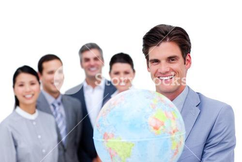 Portrait of an professional business team working together
