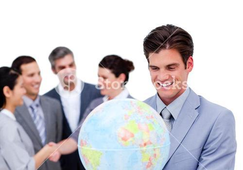 Portrait of a business team working together