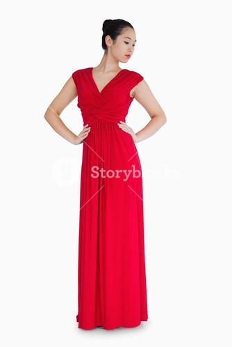 Woman in red evening gown