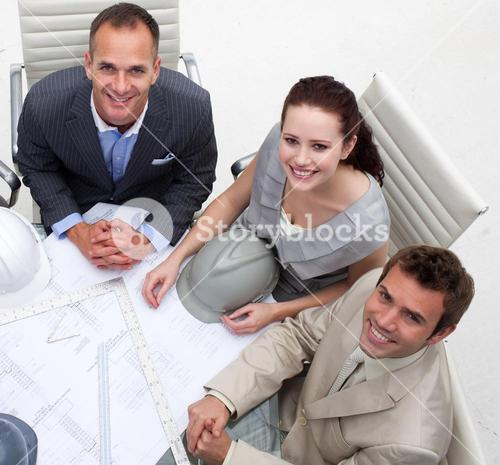 High angle of architects working in an office