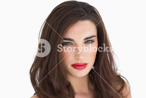 Woman with red lips staring at camera