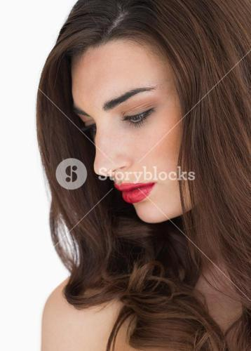 Woman with long hair and red lips