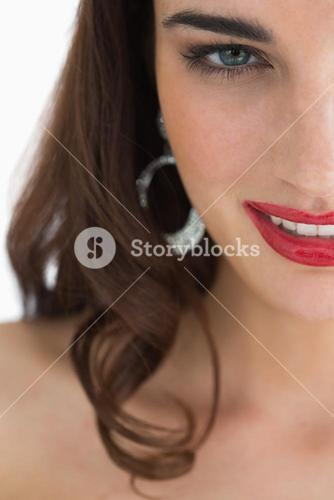 Close up of woman with red lips