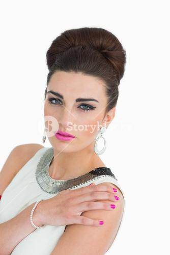 Mod style woman with pink lips