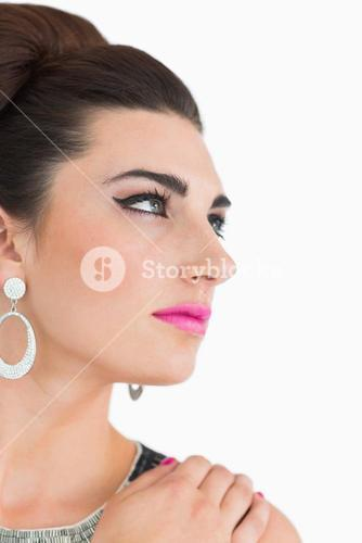 Woman having pink lips and cat eyes