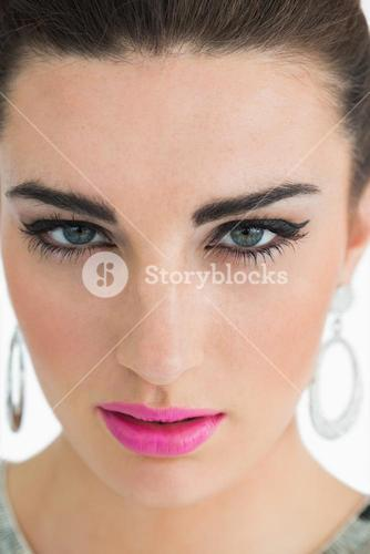 Glamorous woman with pink lips