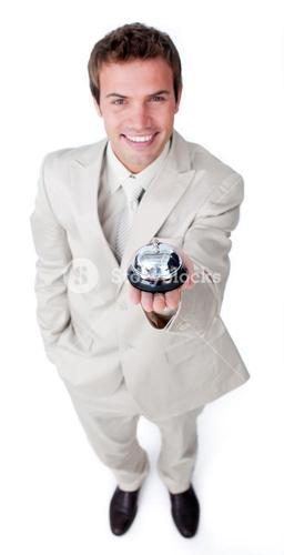 Businessman using a bell