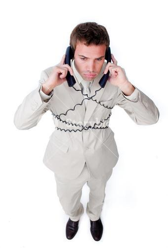 Attractive businessman having a phone call