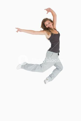 Happy woman jumping