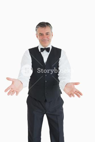 Waiter with open arms