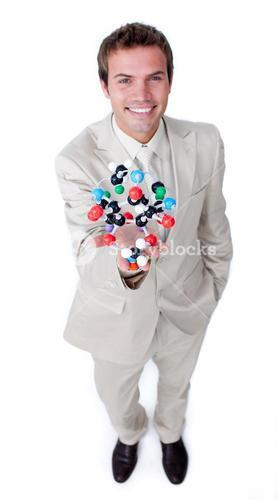 Happy businessman talking about biology