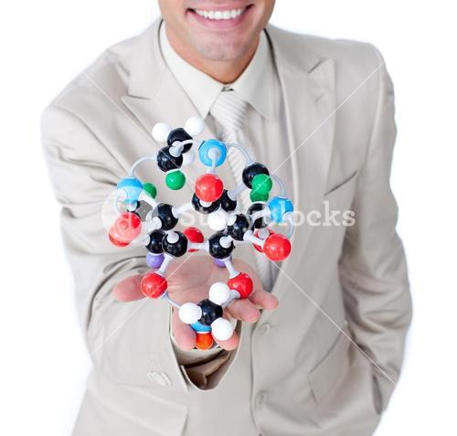 Smiling businessman talking about biology