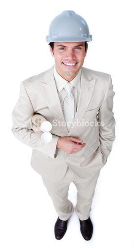 Attractive male architect is holding blueprints