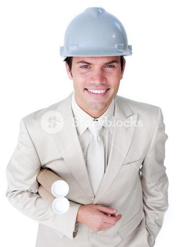 Cute male architect is holding blueprints