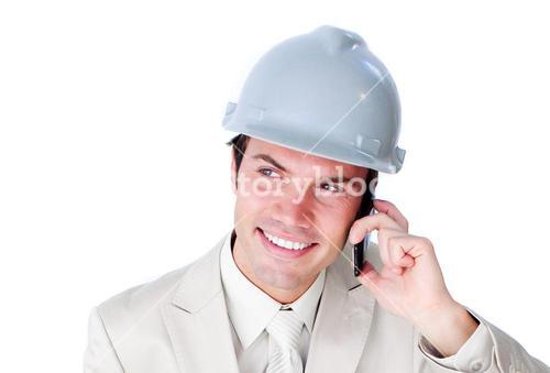 Male architect having a phone call