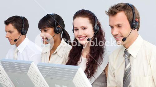 Attractivel woman working in a call center