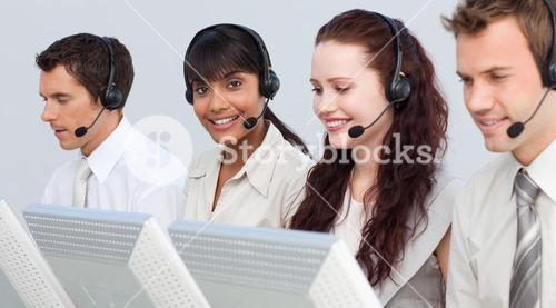 Woman working with her team in a call center