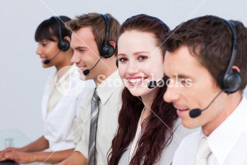 Woman working with more people in a call center