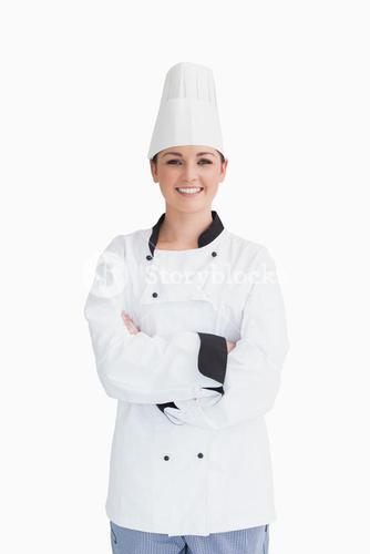 Cook wearing a chef hat