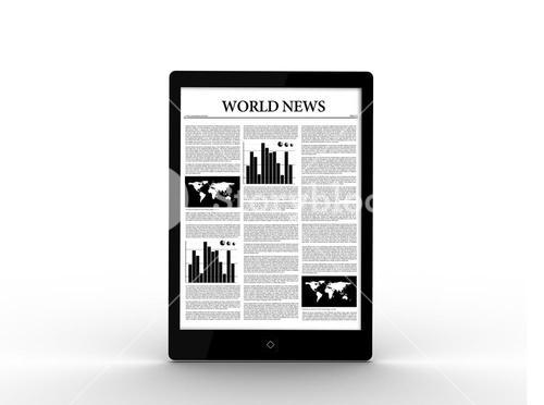Digital tablet showing world news