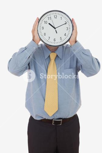 Businessman with clock face