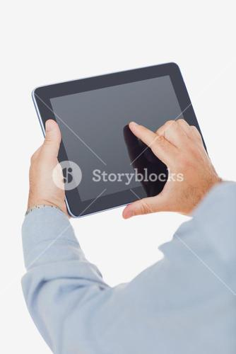 Hands using digital tablet