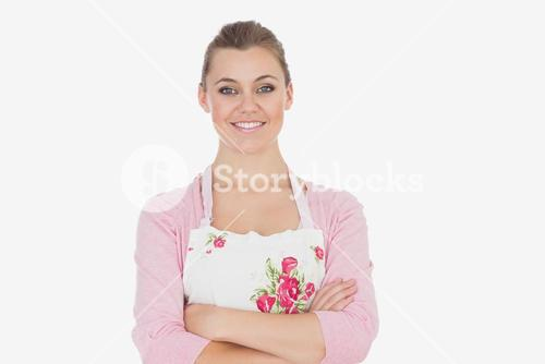 Confident woman wearing apron