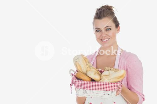 Young woman with bread basket