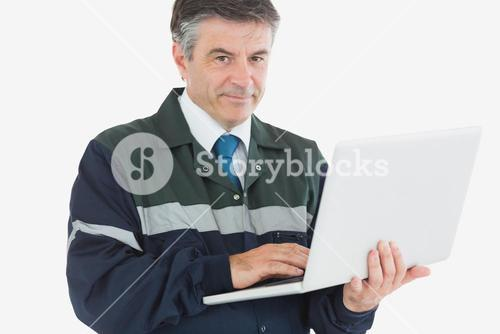 Repairman with laptop