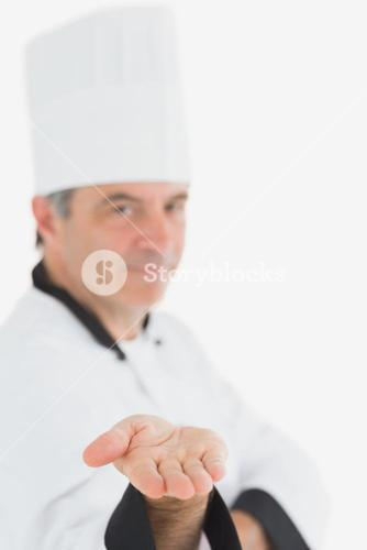 Chef presenting an invisible product