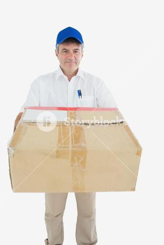 Courier man with cardboard box