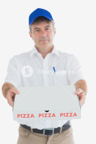 Mature pizza delivery man