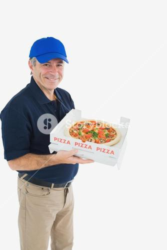 Cheerful pizza delivery man