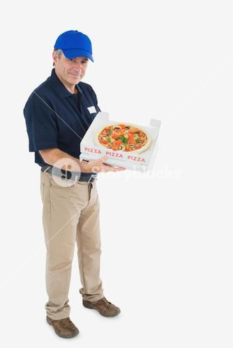 Happy pizza delivery man