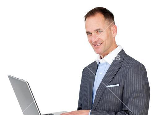 Charming businessman surfing the internet