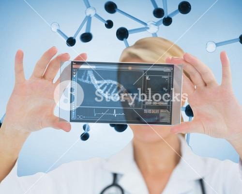 Smiling nurse holding a virtual screen