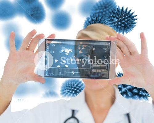 Joyful nurse holding a virtual screen