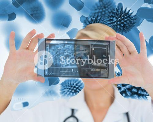 Happy blonde nurse holding a virtual screen