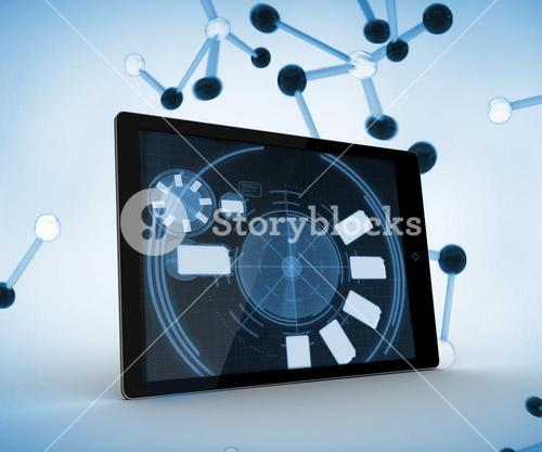 Tablet computer on a digitally generated background