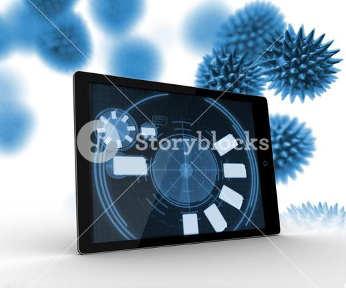 Digital tablet with cells on the background