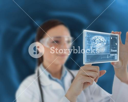 Nurse touching on virtual screen