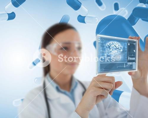 Smiling laboratory worker using virtual screen