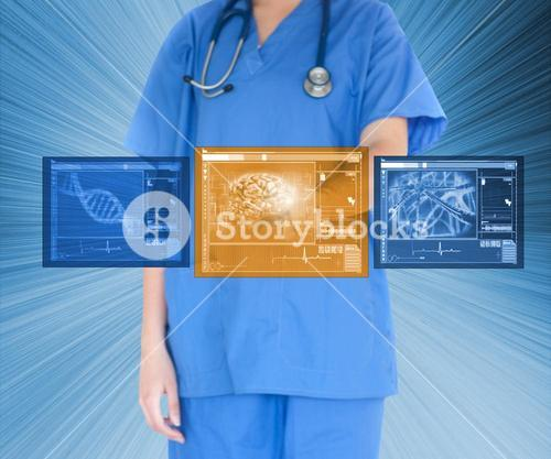 Woman working with touch screen