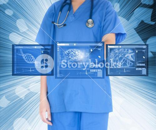 Nurse working with touch screen