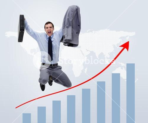 Businessman jumping above graphical presentation