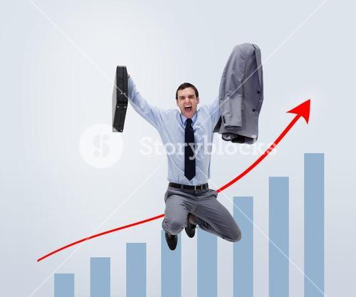 Screaming man in suit jumping