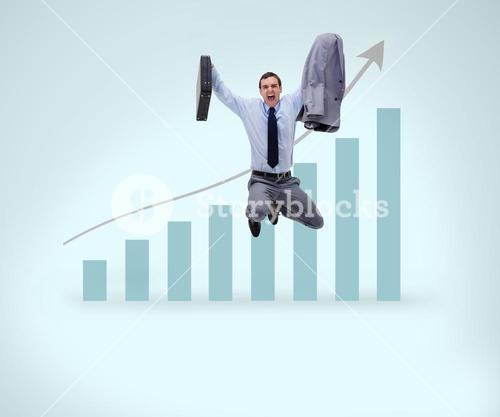 Screaming businessman jumping against a graphical presentation in background