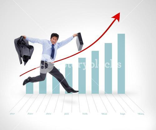Businessman running before graphical presentation