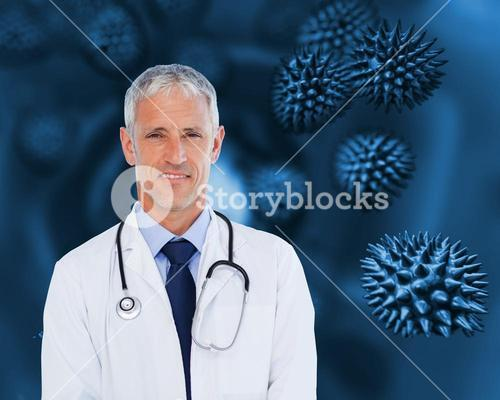 Doctor with stethoscope standing against a background